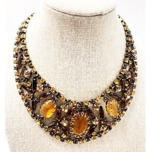 Vintage Amber Tone Rhinestone Statement Necklace